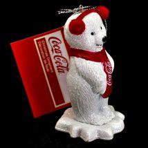 "Kurt S. Adler Coca-Cola Glitter Polar Bear Cub 3.5"" Christmas Ornament image 3"