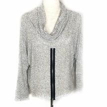 Comfy USA Mona Top Open Knit Sweater W/ Cowl Neck & Front Zipper Sz L - $32.55