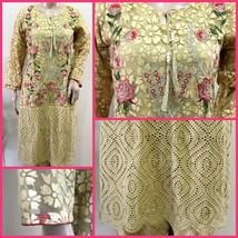 Pakistani Kurta Beige Floral Lace, Fancy Thread Embroidery, SMALL Size - €54,99 EUR