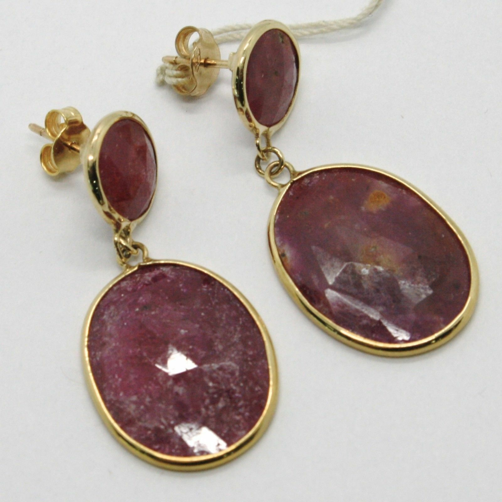 YELLOW GOLD EARRINGS 9K WITH RUBIES ROUGH MADE IN ITALY PIECE SINGLE