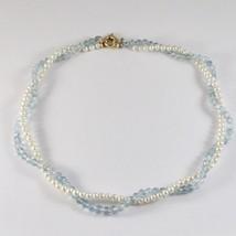 Collar de Oro Amarillo 18KT con Perlas Blancas y Aguamarina Facetada - $705.64