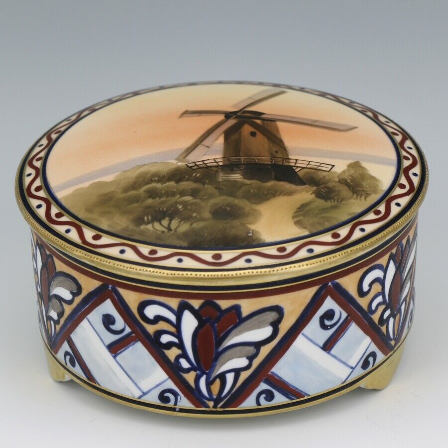 Noritake Nippon Windmill Sunset Covered Candy Box c1920