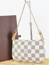Authentic LOUIS VUITTON Mini Accessory Pouch Damier Azur Hand Bag #33206 - $379.00