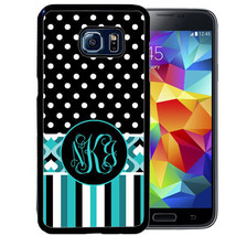 MONOGRAMMED RUBBER CASE FOR SAMSUNG S9 S8 S7 S6 S5 PLUS BLUE STRIPE GEOM... - $13.98
