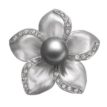 Yoursfs Grey Floral Brooch Pin Grey Painting Mabe Pearl Lacing Crystal R... - $12.12