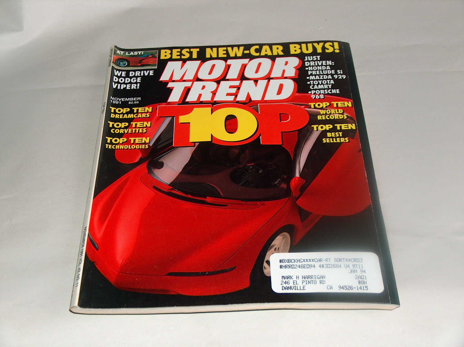 Primary image for Motor Trend 1991 Car Truck Vehicle Magazine Top 10 Dream Vettes, Records, Seller
