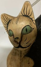 2 White & Black Cats Hand Carved Wood And Painted Folk Art - $123.74