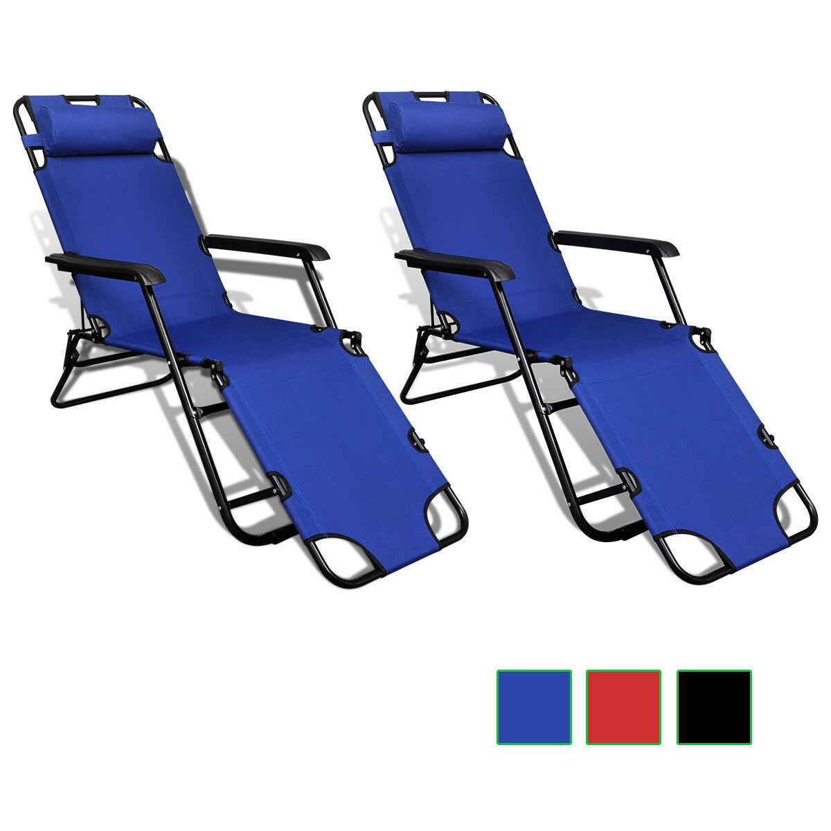 vidaXL 2x Folding Sun Loungers Reclining Chairs 3 Positions Sunbeds 3 Colors