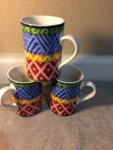 (3) Sango Nile Coffee Mugs / Cups #4864 RARE--ABSTRACT--FREE SHIP--VGC - $30.70