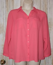 Womens Pink Peach CJ Banks 3/4 or Long Sleeve Shirt Size 1X excellent - $7.91