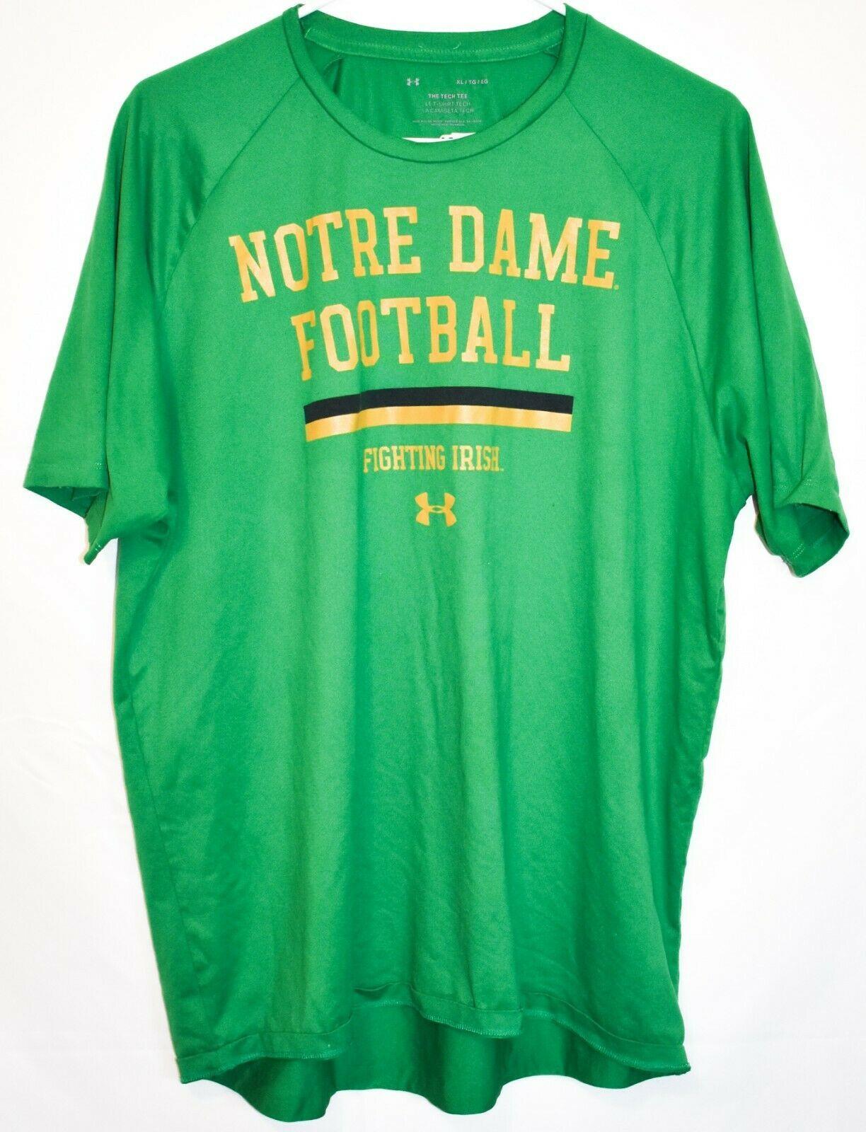 Under Armour Tech Tee Green Notre Dame Football Fighting Irish Men's Shirt XL