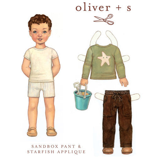 Primary image for Sewing Pattern - Sizes 6M-3T Sandbox Pants & Starfish Stencil Oliver + S M202.12