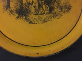 "Vintage Neiman Marcus Metal Round Serving Tray Platter Italy 17"" Orange Rustic image 3"