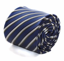 Frederick Thomas navy blue and white striped mens tie FT612