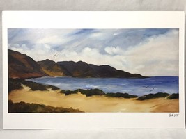 "Beach Ocean with Gulls and Mountains Art Print Signed BER 2015 11"" x 17"" - $19.00"
