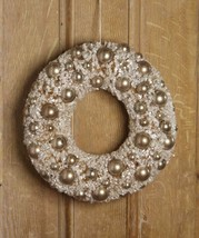 "Bethany Lowe 14"" Silver Bottle Brush Wreath with Silver Balls"