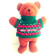 """Soft Dreams Bear Rattle 9"""" Merry Christmas Brown Sweater Red Green 2242 ... - $21.24"""