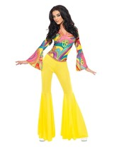 Smiffys Fever Años 70 Fabuloso Nena Hippy Adulto Mujer Disfraz Halloween... - $28.44