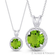 Faux Peridot Green & Clear Round Cut CZ Crystal 14x9mm Pendant in 14k Wh... - $59.99+