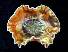 Dugan Carnival Glass PEACH OPAL Banana Bowl SCARCE Color Heavy Opal Peta... - $74.25