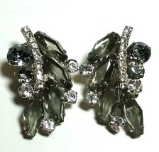 LARGE VINTAGE JULIANA TOPAZ COLOR & CLEAR OPEN BACK RHINESTONE CLIP ON E... - $75.00