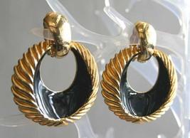 "Fabulous Black Enamel Gold-tone Hoop Clip Earrings 1980s vintage  2 1/4"" - $12.30"