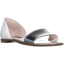 Nine West Maris Slip On Flat Sandals, White/Silver, 5 US - $32.65