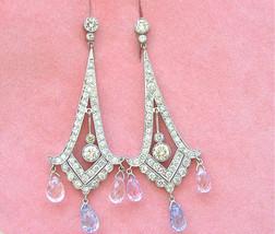ART DECO 4ctw DIAMOND 8ctw BLUE PINK SAPPHIRE BRIOLETTE DROP CHANDELIER ... - $7,919.01