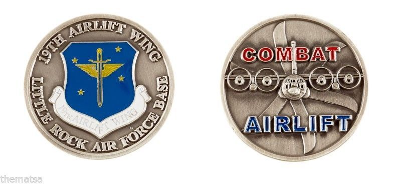 LITTLE ROCK AIR FORCE BASE 19TH COMBAT AIRLIFT WING CHALLENGE COIN