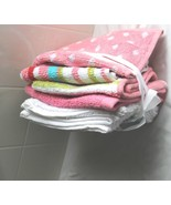 "Wash Cloth Towels 100% Cotton 6 Pack Pink White  Assorted 12""x12"" New Spa - $6.44"