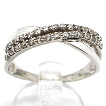 SOLID 18K WHITE GOLD BAND RING, CUBIC ZIRCONIA, DOUBLE WAVE, ONDULATE, BRAID image 1