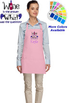 Personalized Wine Apron with Wine is the Answer Embroidery Design - $22.99