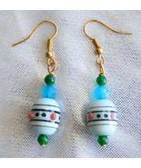 Judy Strobel Elegant Vintage Art Glass & Jade Earrings - $19.95