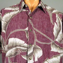 "Cooke Street Hawaiian Shirt Mens 55"" Chest RP Burgundy Banana Leaves Print - $20.56"