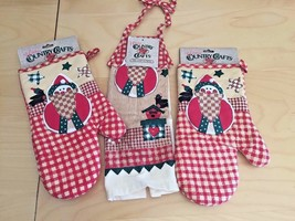 3 PC Holiday Christmas Kitchen Set 2 Oven Mitts 1 Dish Tie On Towel Coun... - $14.84