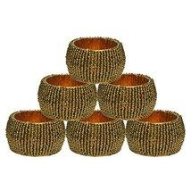 Prisha India Craft - Beaded Napkin Rings Set of 6 dark gold - 1.5 Inch in Size-P - $16.83