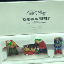 Department 56 Christmas Snow Village Collection Figurines Nib Box Puppies 5432-1 - $33.66