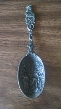 Very nice about 7.5 inch antique table spoon with embossed picture - $9.89