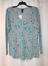 New Womens Plus Size 3X Gray W Bright Blue Roses V Neck Long Sleeve Shirt Top - $17.41