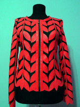 Round Neck Red Leather Leaf Jacket Womens All Colors Sizes Zipper Short D11 - $115.00