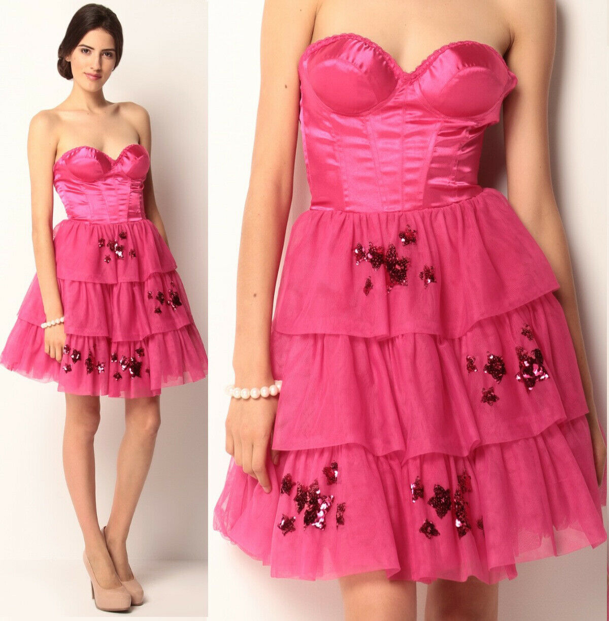 Primary image for $468 Betsey Johnson Evening Hollywood Hills Fuchsia Corset Bustier Tulle Dress 2