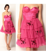 $468 Betsey Johnson Evening Hollywood Hills Fuchsia Corset Bustier Tulle Dress 2 - $175.50
