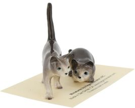 Hagen Renaker Miniature Cats Gray Walking and Crouching Figurine Set of 2 image 7