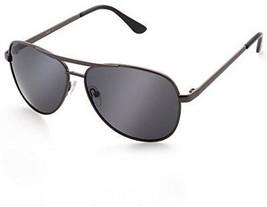 Military Aviator Sunglasses, Polarized Grey Lens, Black Metal Frame, UV400 - $31.93