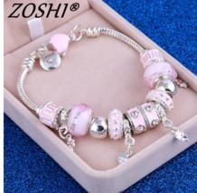 ZOSHI Pink Crystal Charm Silver Bracelets & Bangles for Women  - $11.38