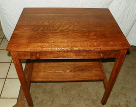 Quartersawn Oak Writing Desk by Cadillac with Lap Top Writing / Ink Well... - $699.00