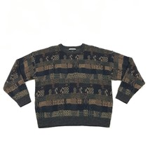 VINTAGE Geoffrey Beene Crew Neck Sweater Size Extra Large Coogi Style Kn... - $26.43