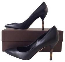 Unique Black leather GUCCI Malaga Kid Nero Iconic Bamboo Kitten Heels 8.5 $743 - $349.99