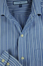 Tommy Hilfiger Ithaca Men's Blue Striped Cotton Casual Shirt L Large - $19.12
