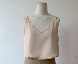 Women V Neck Sleeveless Strap Chiffon Top Camisole Summer Solid Chiffon Tank Top image 6